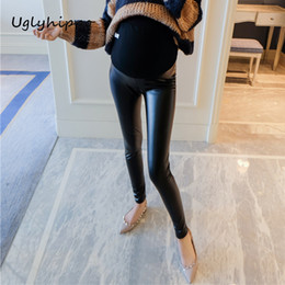 3428a963b2dd1 Maternity Pants PU Leather Leggings Warm Clothes for Pregnant Women  Pregnant Wear Adjustable Trousers M1MO107
