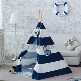 Wholesale Kids Foldable Play Tent - Wholesale-Dalosdream Foldable Cotton Canvas Indian Teepee Kid Play Tent for Children Playhouse-Blue and White Stripe.
