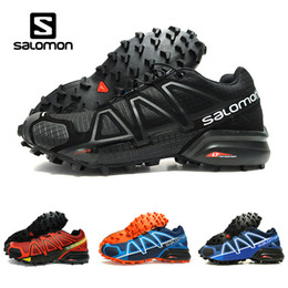 Wholesale red cross cut - Drop Shipping Salomon Speed Cross 4 IV CS black blue orange red Outdoor Shoes Breathable Man Athletics Mesh Fencing Shoes sports sneaker
