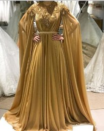 royal blue prom dresses diamonds UK - Gold Chiffon A Line Elegant Evening Formal Dresses 2018 Long Bead Prom Dress Capes Diamonds Evening Gown