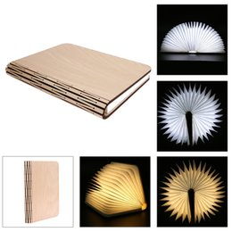 Wholesale Wall Art Wooden - Wooden Folding Book Lamp Creative Design Magic Rechargeable LED Nightlight Book-lights for Desk Table Wall Reading Lamp Kid Gift