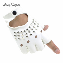 white leather gloves half Coupons - LongKeeper 2017 Ladies Gloves Fingerless Women Sexy Gloves Wrist Half Finger Leather Glove Revits Mittens for Dancing Party S113