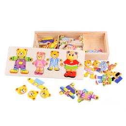 Bloco de urso on-line-Modelo de Construção Tijolos Do Bebê Urso Brinquedos Margaret Lynx Blocos De Madeira Puzzle Dress Up Jogo Criança Brinquedo Educacional para Crianças