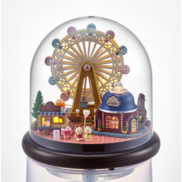 Wholesale toy wooden wheel - Cute Room DIY Doll House Miniature Wooden Dollhouse Furniture Handmade Toys For Children Gift Happy Ferris Wheel B023
