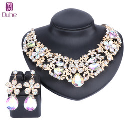 Shop indian wedding decoration accessories uk indian wedding fashion full clear rhinestones statement necklace earrings for women indian bridal wedding accessories decoration jewelry sets junglespirit Image collections