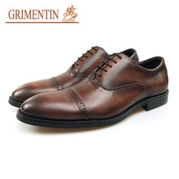 6b6c65cde50 China GRIMENTIN Fashion Brand Men Oxford Shoes Genuine Cow Leather Brown Formal  Mens Dress Shoes For