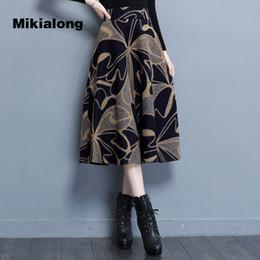 Wholesale Polka Dot Skirt Ladies - Mikialong 2017 Winter Long Skirts Women Korean Zipper Polka Dot Wool Skirt Ladies High Waist A Line 4XL Plus Size Skater Skirt