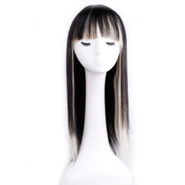 Wholesale long burgundy wig bangs - Amir 20 inch Long silky straight wigs synthetic cosplay wig heat resistant fiber hair with neat bangs full hair piece 10 colors