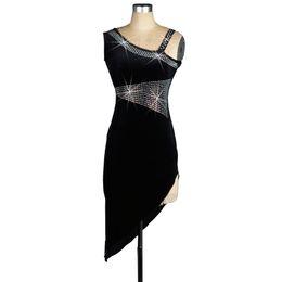2019 tango kleider Samt Latin Dance Dress Frauen Abendkleid Wettbewerb Kleider Salsa Tango Ballsaal Kostüme D0124 mit BH Cup Unterwäsche Strass günstig tango kleider