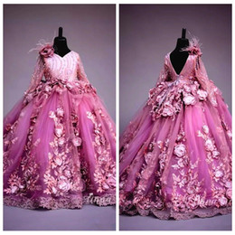 Wholesale Formal Dresses 3d Flowers - 2018 Beautiful 3D Handmade Flowers Girls Pageant Dress Gorgeous Fluffy Tulle Ball Gown Kids Formal Birthday Party Gowns Flower Girls Dress