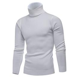 Pullover alto colletto online-Inverno collo alto spessore caldo maglione uomini collo alto marchio uomo maglioni slim fit pullover uomo maglieria doppio collo maschile