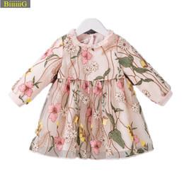 Abito da bambina floreale ricamato 2018 Abiti da neonato in cotone di marca autunnale Abiti per neonati Abiti da cerimonia in pizzo di alta qualità 18 m da