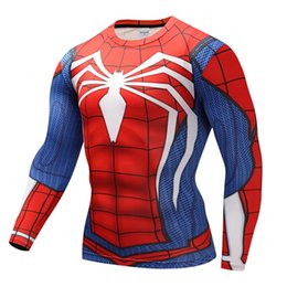 Wholesale marvel t - 3d superman spiderman flash marvel avengers T shirt cycling speed dry long sleeve T-shirt man compression suit.