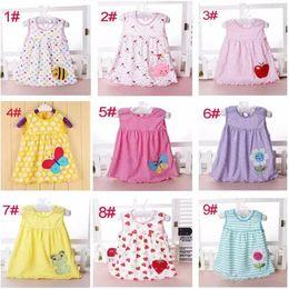 Wholesale Cheap Christmas Tutus - baby girl cotton dresses summer cartoon skirt embroidered kids sleeveless A line dot flower striped princess dress for 0-2T children cheap B