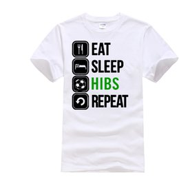 Wholesale Fashion Scotland - Eat Sleep Hibs T-shirt - Funny Scotland Footballer Fan Hibernian Xmas T Shirt 100% Cotton Short Sleeve Summer T-Shirt