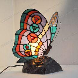 Kelebek başucu masa lambası yatak odası lamba oturma odası Avrupa hayvan lambaları çalışma tiffany cam yeni nereden