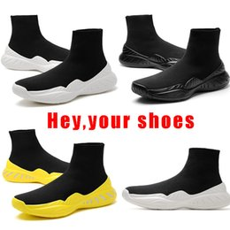 Wholesale Mesh Booties - [with box]2017 new Black Sock Booties Sports Running Shoes,Training Sneakers Shoes Speed Knit Sock High-Top Training Sneakers 171223004