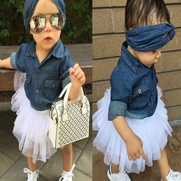 Wholesale European Baby Headbands - Baby Girl Denim Fashion Set Clothing Children Long Sleeve Shirts Top+Shorts Tutu Skirt+Bow Headband 3PCS Outfits Kid Tracksuit