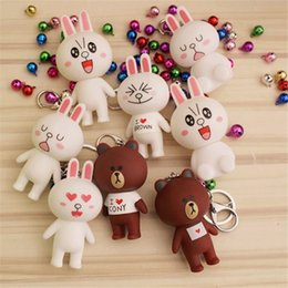 Wholesale action comics - Popular cartoon and surprise doll action figure squishy cute little bear rabbit doll bell key ring couple pendant.