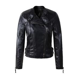 Argentina Mujeres chaqueta de cuero sintético manga larga PU abrigo rojo tamaño grande XL XXL motociclista jaquetas casacos de couro abrigo femenino supplier xxl leather sleeves jacket Suministro
