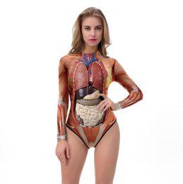 Argentina Disfraces de Halloween Catsuit Ropa Mujeres Flacas Monos Sexy Carne de Sangre 3D Imprimir Cosplay Ropa al por mayor barato cheap zentai flesh Suministro