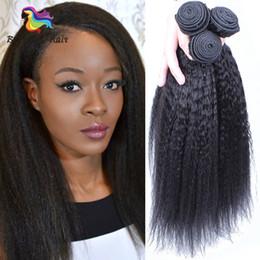 Productos para el cabello de las mujeres negras online-Kinky Straight Peruvian Hair Weave Bundles Yaki grueso 100% paquetes de trama de cabello humano Brennas Hair Products Remy Extensions para Black Women uk