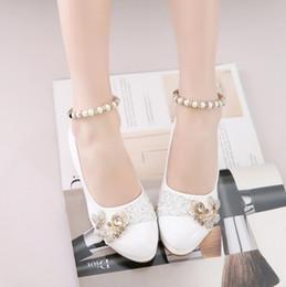 mädchen schnüren sich schulschuhe Rabatt 2018 Mädchen malen leichte Schuhe Perle Spitze Mädchen einzelne Schuhe kleine hochhackigen Prinzessin Quadrat Mund Grundschule Mädchen
