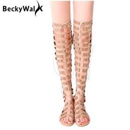 Wholesale Over Front - Women Over the Knee Sandals Boots Summer Women Shoes Cross Strap Gladiator Sandals Flat Long Shoes Woman Size 34-43 WSH2360