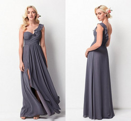 Wholesale Dresses One Side Long - 2018 Spring Flowy Gray Bridesmaid Dresses One Shoulder Pleated Chiffon Split Side Floor Length Backless Wedding Party Dresses