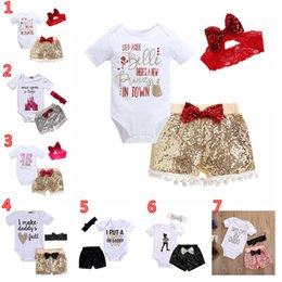 455077b5c8ff Newborn Baby Girls Rompers Sets INS Hot Toddler Letter Printed Short Sleeve Baby  Rompers Jumpsuit Clothes Set with Hairbands