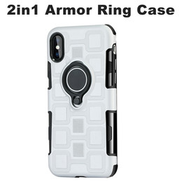 Wholesale 3in1 Ring - For iphone X 8 7 Plus helmet Armor Case Knight series 3in1 Shockproof Hard Frame TPU Gel Hybrid Ring Kickstand Samsung S8 Cover