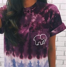 Wholesale elephant tee - New Summer Women Fashion Ivory Ella Elephant Printed T-shirt Lady Girl Short Sleeve Casual Tee T Shirt 2 Color W140