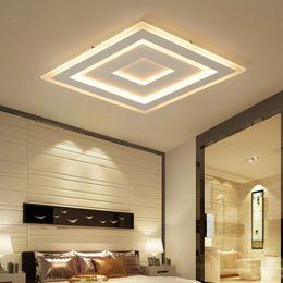 Accesorio de techo cuadrado online-Luces de techo LED modernas montadas en superficie ultradelgadas lamparas de techo Rectángulo de acrílico Luminarias de techo cuadradas