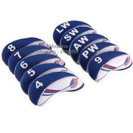 Wholesale Left Handed Golf Clubs - Free Shipping the United States of America USA Golf Iron Cover Headcover Flag Union Jack Neoprene White with Blue,10pcs 1set