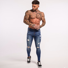 Pantalones de calle online-Gingtto Blue Ripped Jeans para hombres Super Stretch Pantalón masculino Distressed Fake Designer Brand Men Jeans Skinny Fit Street Wear Wholesale