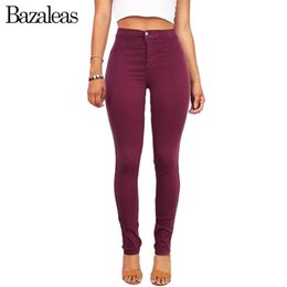 Wholesale Button Lifts - Bazaleas 2017 High Waist Stretch Women Jeans Skinny Pants American hip-lifting Casual Pencil Pants Apparel Wine Red
