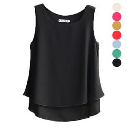 2c51a0f27 Moda Mujer Verano Blusa de Gasa Sin Mangas Camisa Casual O-cuello Capas  Dobles Chaleco Tops Más Tamaño blusas feminino