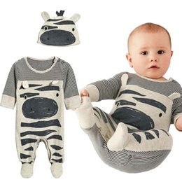 Wholesale Cow Hats - 2018 Autumn New Fashion baby boy clothes set cows cute gray striped baby rompers+hat 2pcs newborn clothing set