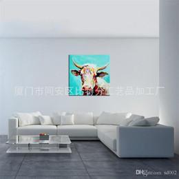 dipingere le mucche Sconti 3D Tema Animale Home Decor Pittura ad olio Mucca bianca Pratico Dipinti murali Arte Facile Carry Tela dipinto a mano autentico 100bt7 cc