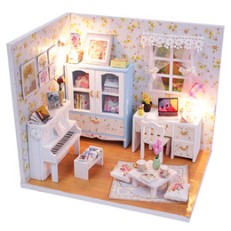 Wholesale Free House Furniture - Wholesale- Handmade Kits Diy Wooden Doll House Bed Miniature With Led Light Furniture Dust Cover Furniture Kid Gift Miniature Free Shipping