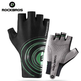 Wholesale fitness road - ROCKBROS Running Gloves Road Bicycle Gloves Half Finger Anti Slip Gel Pad Cycling Gym Men Women Fitness Sportswear