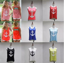 Wholesale Vest Tee Shirt - Anchor Print Tank women T-shirts 2018 Summer Women girls sleeveless Cotton Vest Maternity Tops tees 15 colors B11