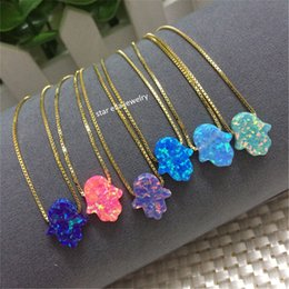 Wholesale Fire Opal Necklace Sterling - Hot Selling 11x13mm OP03 Fire Opal Hamsa Pendant Necklace O Chain 925 Sterling Silver Synthetic Opal Hamsa Hand Necklace