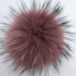 Canada 14-15cm couleur naturelle Coloré Pompons De Fourrure De Raton Laveur balles pour bonnet de laine tricotée beaniesskullies hiver femmes vraie fourrure pompon cheap wool raccoon hat Offre