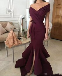 Wholesale Nude Women Prom - 2018 Dark Red Evening Dresses New Fashion Mermaid Off-shoulder Satin Long Formal Prom Wear Split Party Dresses For Women Plus Size