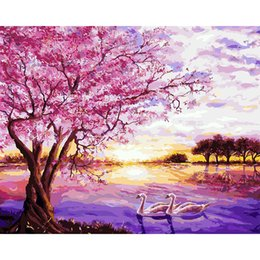 Wholesale oil paintings nudes - Pictures By Number On Canvas Pink Cherry Blossoms Wall Art Canvas Paintings DIY Painting By Numbers Poster