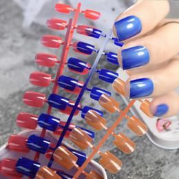 blaue runde süßigkeit Rabatt Candy Farbe Round Square Falsche Nägel Klar Pink Nude Blau Orange Rot Taro Lila Gefälschte Nagel Kurze Glatte Künstliche Neipennagels