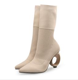 Tubo de botas de mujer online-Otoño invierno Sexy botines de tacón alto con puntera para mujer Botas de punto Botas de primavera de tubo medio Calcetines y botas Trend