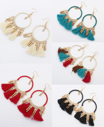 fashion circle long earrings Promo Codes - 5 Colors Fashion Women Alloy Tassel Earrings Ladies Boho Earrings Long Circles Tassel Drop Earring Dangle Eardrop Jewelry Gift Free DHL H48R
