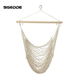 Wholesale Indoors Hammock - SGODDE Outdoor Hammock Chair Hanging Chairs Swing Cotton Rope Net Swing Cradles Kids Adults Outdoor Indoor Seat Chair